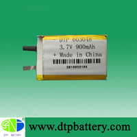 Popular 900mah 3.7v lithium Ion battery cell made in China
