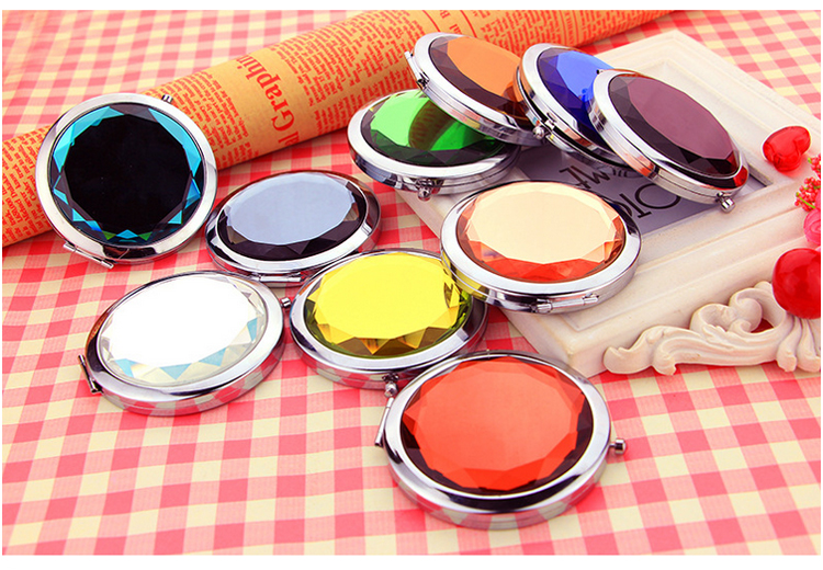 Fashion women gift Double sides round Shiny Crystal Metal compact Makeup Mirror