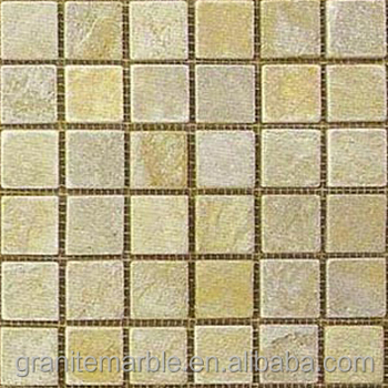 Yellow mosaic stone tile for bathroom tiles and vanity top with low price