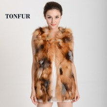 New Fashion Women's Clothing Real Natural Fox Fur Ladies Vest