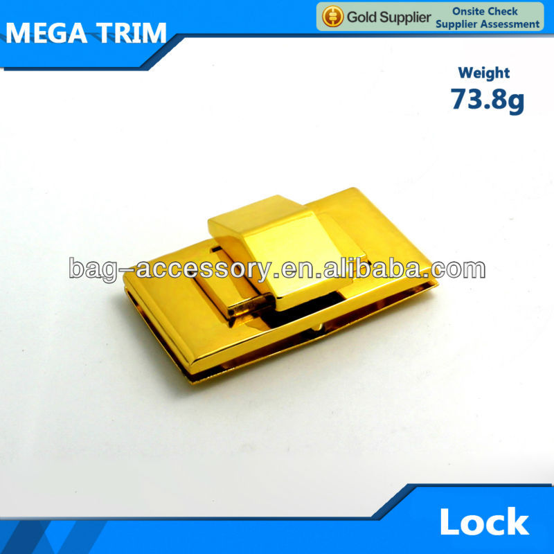 High quality multilayer shiny gold bag lock metal handbag locks rectangle metal lock fast selling