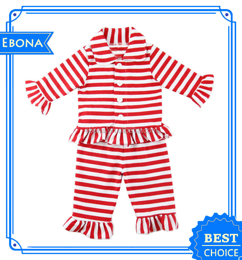 Lovely Girls Wholesale Ruffled Pajama Suit Designs Children Pajamas Sleepwear