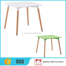 MDF squared table with beech wood legs