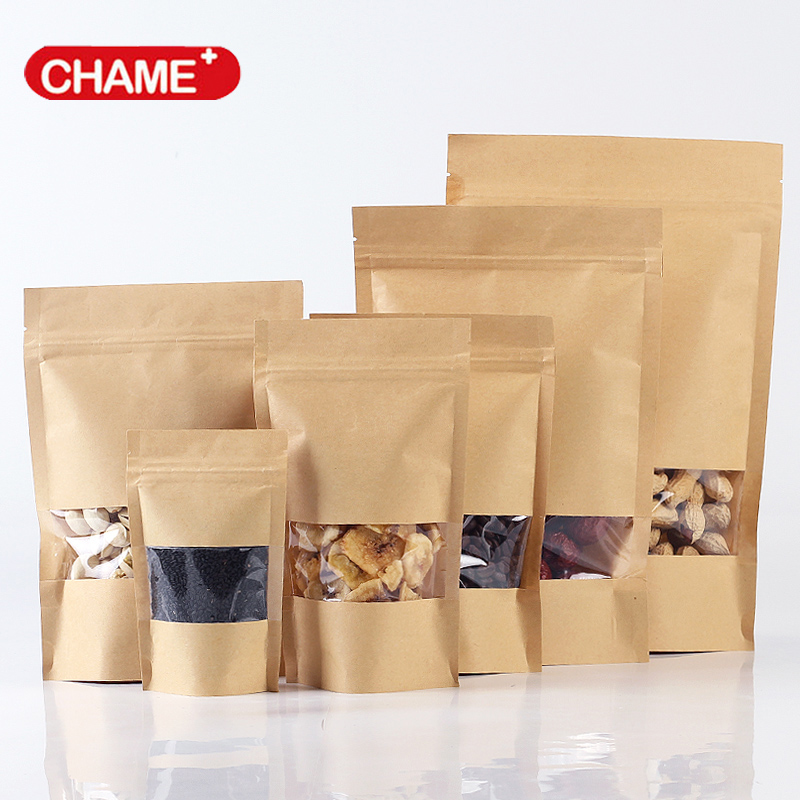 kraft paper bag with window ang zipper