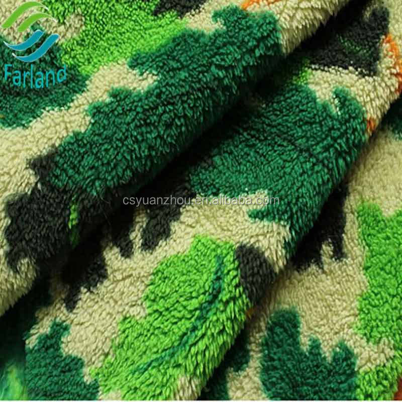New design high quality soft wholesale sherpa fabric camouflage