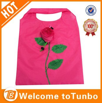 Custom rose shape reuseable foldable polyester folding shopping bag