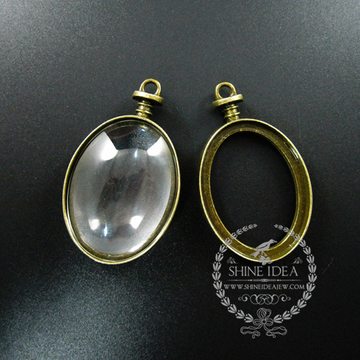 30*40mm vintage style bronze alloy oval photo frame glass pendant charm DIY bezel setting tray with glass jewelry 1810427