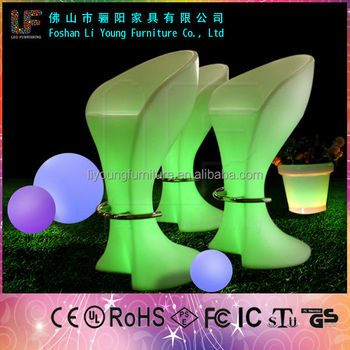 Remote Control Luminous Commercial Stools used Bar Furniture Multicolor High Bar Stools Illuminated LED Lighting Nightclub Chair