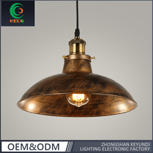 Retro rustic style wrought iron black/copper/chrome optional industrial vintage pendant lamp with metal cover