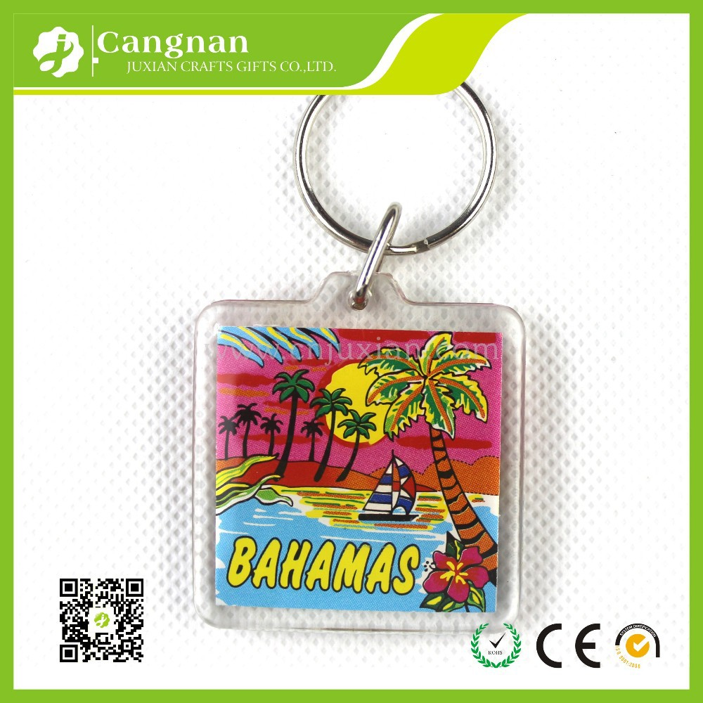 2017 best selling custom logo printed acrylic keychain wholesale