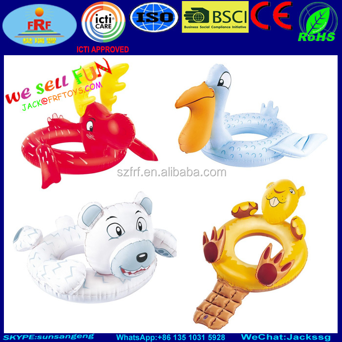 Inflatable Animal Swim Ring Beavers Reindeer Polar Bear Pelican