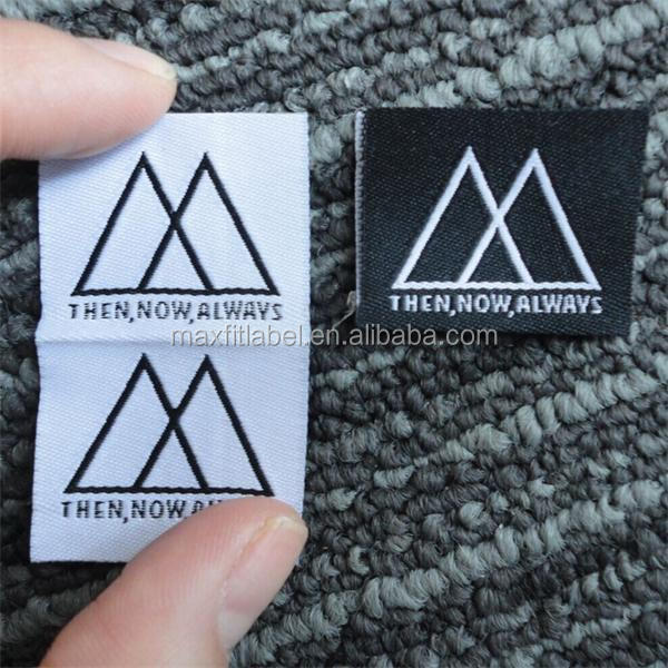 Centre fold customized high density garments woven labels clothing labels