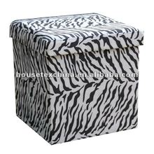 cheap!zebra suede foldable storage ottoman/stool