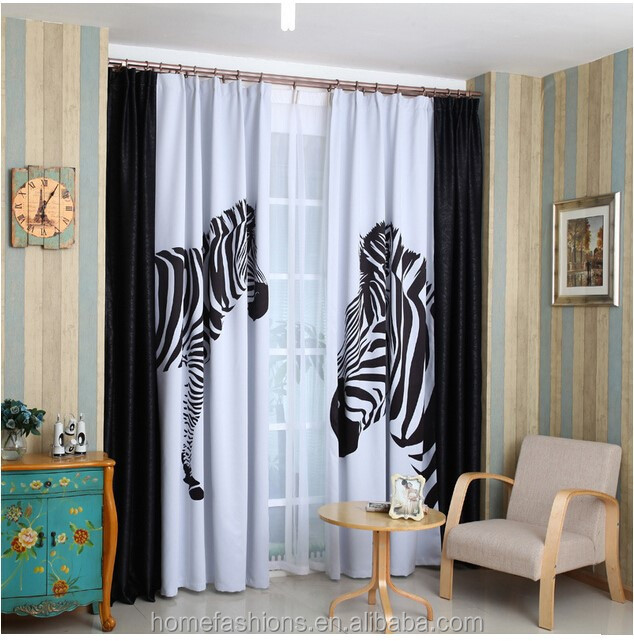 2015 Latest Design Fashionable Zebra pattern Linen Fabric Curtain