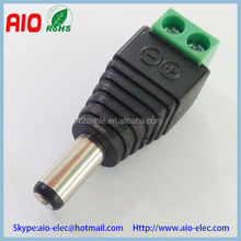 Easy wire 5.5*2.1/2.5mm DC plug,BNC male,RCA plug adaptor connector with TWO POST terminals for CCTV cameras and led