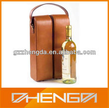 Best Sell factory custom made brown stand 2 bottle leather wine packaging box with zipper (ZDS-F374)
