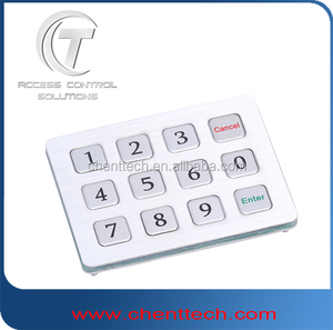 manufacture supply 3x4 layout Ip 65 stainless steel numeric 3x4 metal keypad