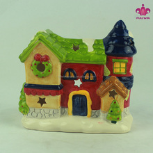 Ceramic House -shaped Candle Holder for Christmas