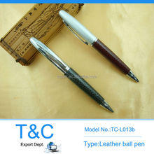 TC-L013b promotional office supply leather pen with top pole