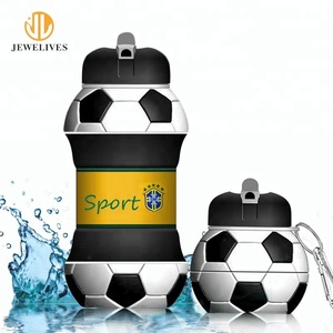Promotion Football Soccer Shape Silicon Collapsible Water Bottle With Custom Logo Wholesale