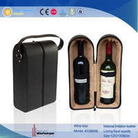 2 bottles handmade leather wine packing box,leather wine bag