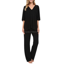 women's modal stretch black tunic pajama set