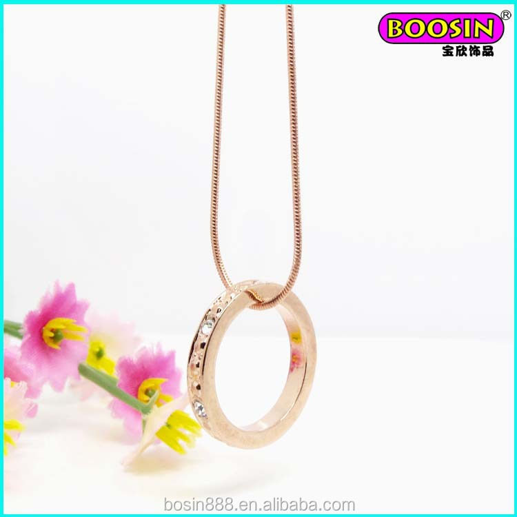 2015 manufacturer wholesale alloy rose gold fancy long chain necklace #11842
