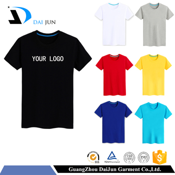 Guangzhou Daijun casual man O Neck 180g 100% cotton cheap black blank custom plain t-shirt