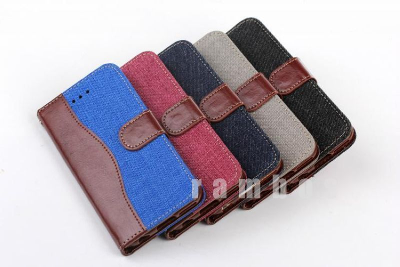 Fashionable cowboy grain Stand PU Leather Case Cover for iphone6