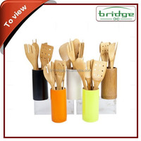 Bamboo Kitchenware Bamboo cooking soup Spoon Holder with Utensil Set
