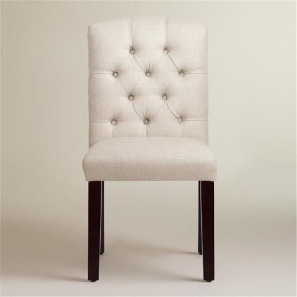 China manufacture high quality cushioned dining room white fabric nailhead trim tufted side chair