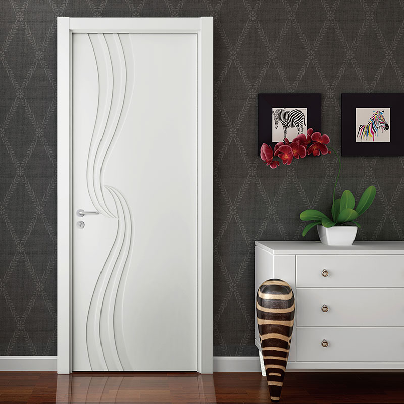 2015 New Design Simple Single Wood Veneer Matte Lacquer Finished Door