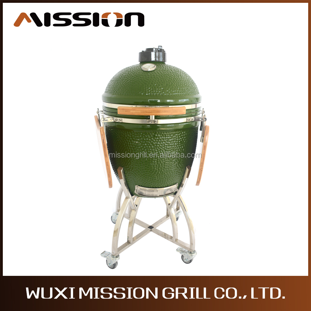 Ceramic Kamado Charcoal BBQ Barbecue Smoker Grills with Table Shelf for Outdoor Kitchen
