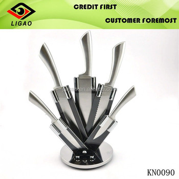 5pcs stainless steel kitchen knife set with acrylic stand