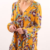 Spring Autumn Yellow Floral Digital Printing Sweet Short Dress For Young Ladies