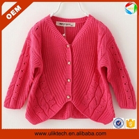 Factory direct sale new design v-neck 2-8T kids handmade sweaters wholesale baby sweaters (ulik-S003)