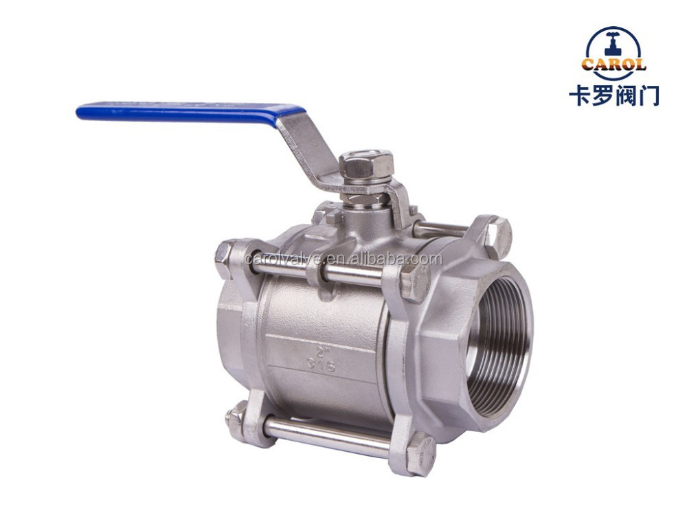 "3/4""304 Stainless Steel 3PC Ball Valve Heavy Type 1000Wog Full Port Female End Dimensions"
