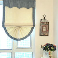 New Arrival Eco-friendly Elegant Roman Blinds Tulle/Sheer Luxury Blue and White Curtains