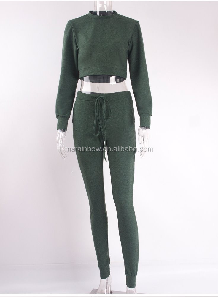 Plain 100% Cotton Fleece Womens Full Tracksuits Slim Fit Crop Top Sweatshirt and Pants Suits Two Piece Suit Tapered Jogger Pants