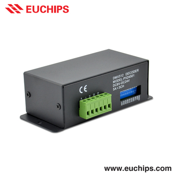 shanghai euchips best selling DIP switch 6-24vdc 5A 3 channel led rgb dmx controller