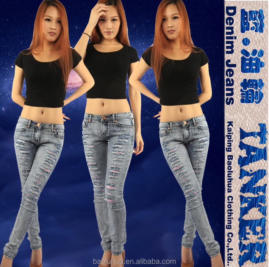 S1076-2 Stretch Women Girls skinny snow wash Destoyed Ripped Distressed patch Jeans