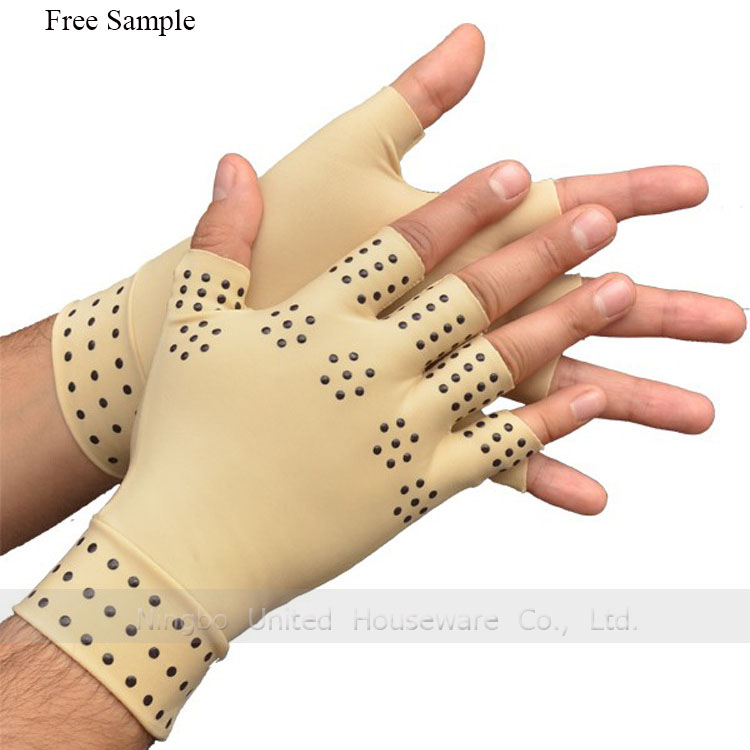 Anti-Arthritis Compression Supported Magnetic Therapy Fingerless Gloves For Pain Relief