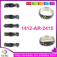 1412-AR-2415 Yiwu Trendz Jewelry Wholesale 16-20mm Ladies Changing Color Mood Ring With Colorful Round Dot Design
