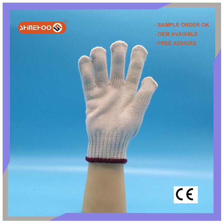 SHINEHOO Cheap Cotton Hand Gloves White For Industrial Use