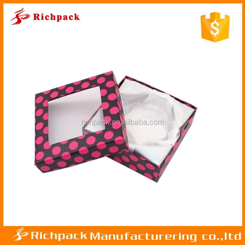 Fancy paper cardboard satin insert bangle packaging box with window