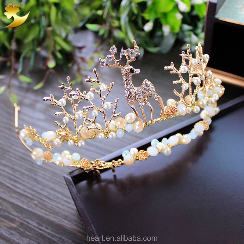 New Arrival Handmade High Quality Gold Jewelry Bride Wedding Tiaras Crown 89367
