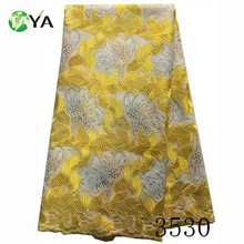 2017 High quality yellow latest heavy london swiss cotton lace fabric