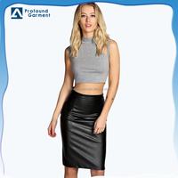 fashion ladies high waist long PU leather pencil skirt