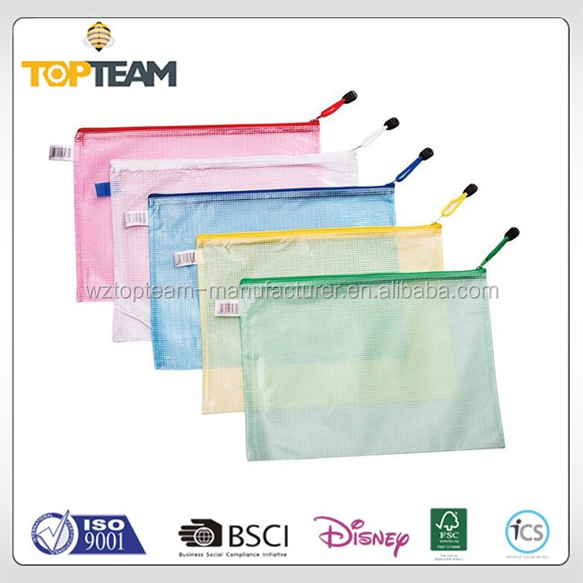 stand up pvc clear file bag with zipper