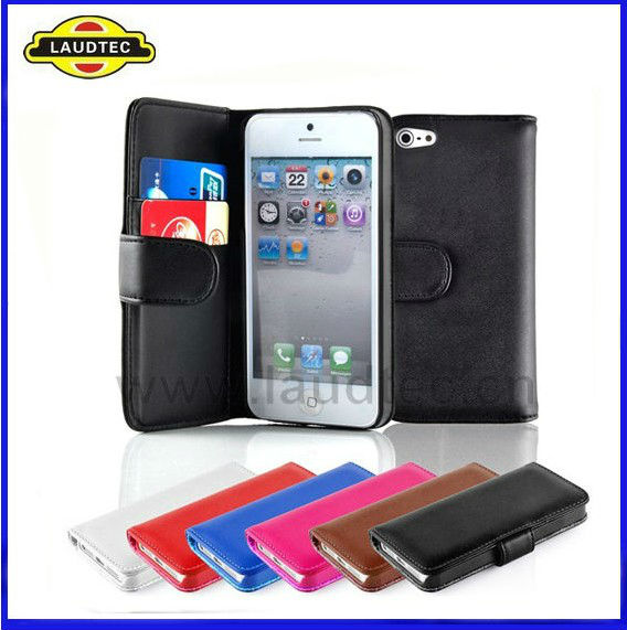 Laudtec High Quality Wallet Leather Flip Pouch Case Cover For Apple iphone 5 With Card Slots